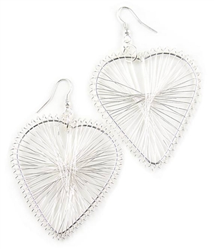 Silver Heart Drop Earrings by Farfallina