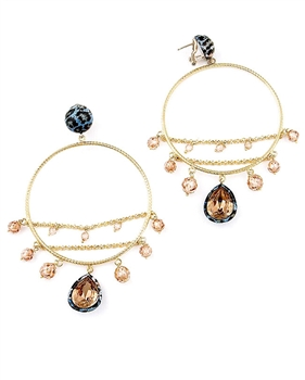 Gold Chandelier Earrings with Swarovski Crystals & Cubic zirconia by Issimo