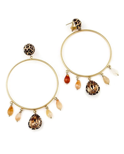 Large Gold Hoop Earrings with Quartz Gemstones