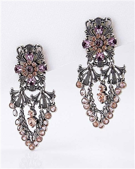 Silver Drop Earrings with Amethyst Swarovski Crystalsby KennyMa