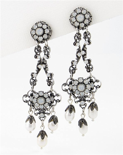 Silver Drop Earrings with Freshwater Pearls & Swarovski Crystals by KennyMa
