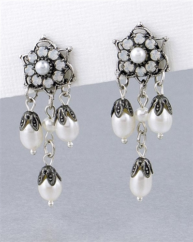 Drop Earrings with Swarovski Crystals & Freshwater Pearls by KennyMa