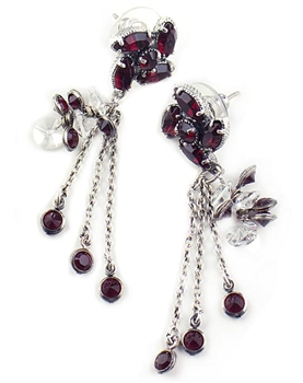 Silver Drop Earrings with Red Swarovski Crystals by KennyMa