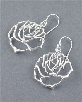 Sterling Silver Flower Drop Earrings by Lab33