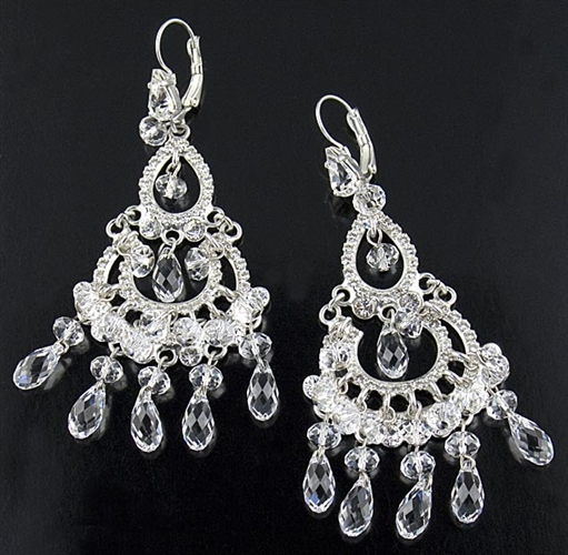 Otazu Silver Chandelier Earrings with Swarovski Crystals