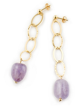 Gold Drop Earrings with Amethyst Gemstone