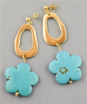 Gold Drop Earrings with Turquoise Flower