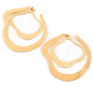 Large Gold Hoop Earrings by Herve Van Der Straeten