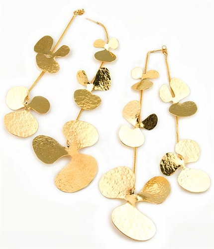 Long Gold Earrings by Herve Van Der Straeten
