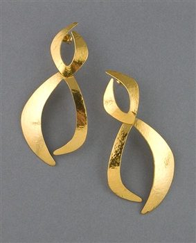 Gold Drop Earrings by Herve Van Der Straeten