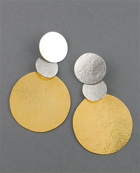 Silver and Gold Drop Earrings by Herve Van Der Straeten