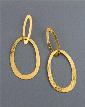 Gold Drop Earrings by Herve Van Der Straeten - Ellipse