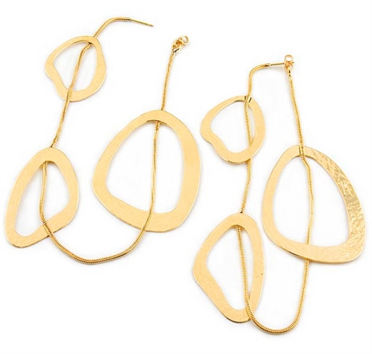 Long Gold Drop Earrings by Herve Van Der Straeten