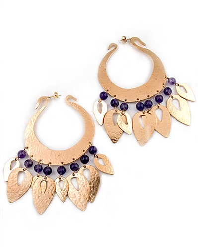 Gold Hoop Earrings with Amethyst Gemstones by Herve Van Der Straeten