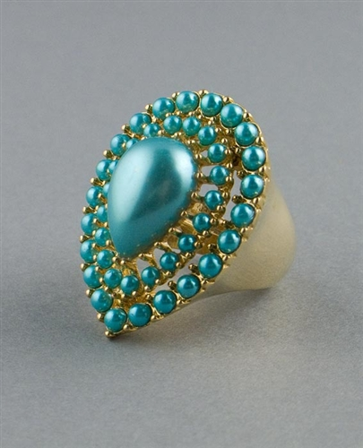 Blue Pearls Statement Ring by Kenneth Jay Lane
