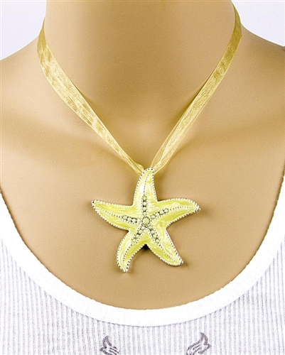 Lime Sea Enamel Sea Star Pendant Necklace by Farfalina