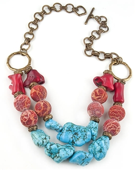 Coral and Turquoise Semi-Precious Necklace by Amor Fati by Amor Fati