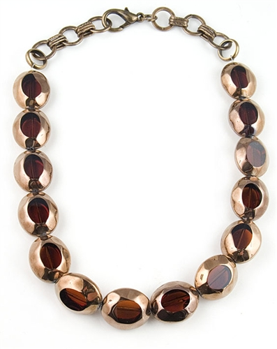 Brass Glass Beads Necklace by Amor Fati - Exclusive