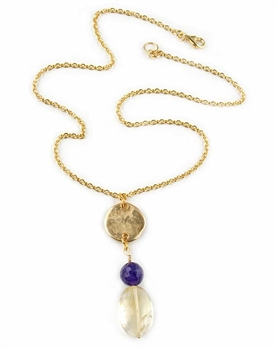 Gold Pendant Necklace with Citrine and Amethyst Semi Precious Stones by Amor Fati