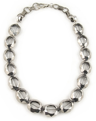 Clear and Silver Glass Beads Necklace by Amor Fati - EXCLUSIVE