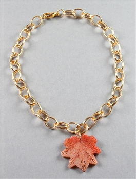 Gold Chain and Agate Leaf Pendant by Amor Fati