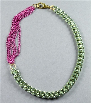 Green and Fuchsia Chain Necklace by Amor Fati