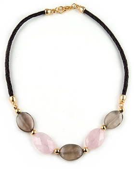 Smokey and Rose Quartz Semi-Precious Necklace by Amor Fati - EXCLUSIVE
