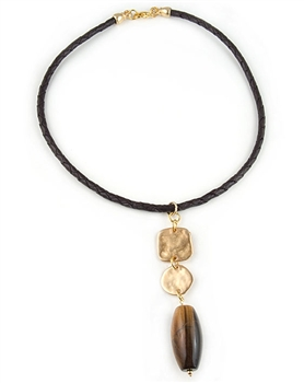 Brown Leather Pendant Necklace with Tiger Eye Semi Precious Stone by Amor Fati