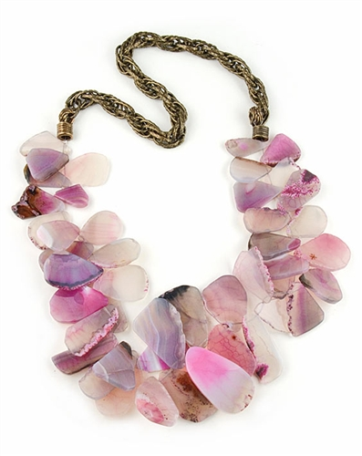 Pink Agate Semi preciousNecklace with Brass Chain by Amor Fati