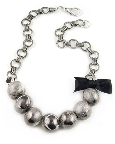 Bold Necklace with Silver Ceramic Beads By Amor Fati