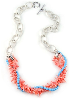 Coral and Turquoise Beads Necklace and Steel Chain by Amor Fati - EXCLUSIVE