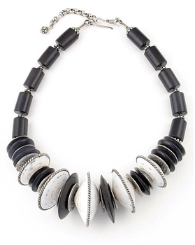 Sterling Silver Necklace with Ebony & Seashell by Amok