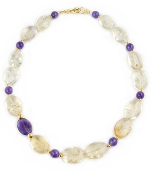 Citrine & Amethyst Gemstone Necklace by Angelo De Soto - EXCLUSIVE