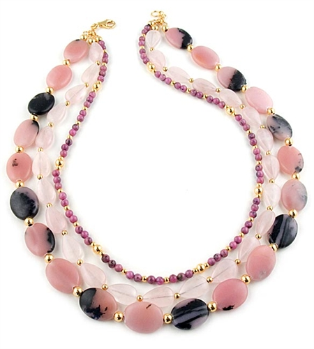 Pink Opal, Rose Quartz & Rhodonite Gemstone Necklace by Angelo De Soto