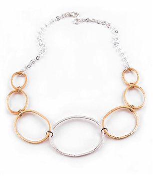 Argento Vivo Sterling Silver Hand Hammered Links Necklace