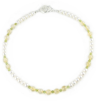 White 7.5-8mm Freshwater Pearls Necklace with Citrine & Peridot semi-precious stones