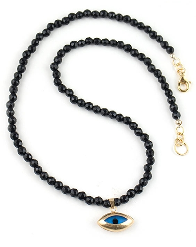 Black Onyx Semi Precious Necklace with Evil Eye Charm