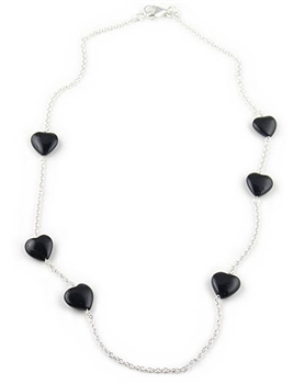 Sterling Silver Necklace & Black Agate Hearts by Chou