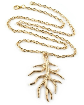 Gold Necklace with Branch Pendant by Chou - Exclusive
