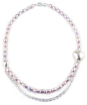 Pink Freshwater Pearls Necklace with Sterling Silver Hearts & Chain by Chou
