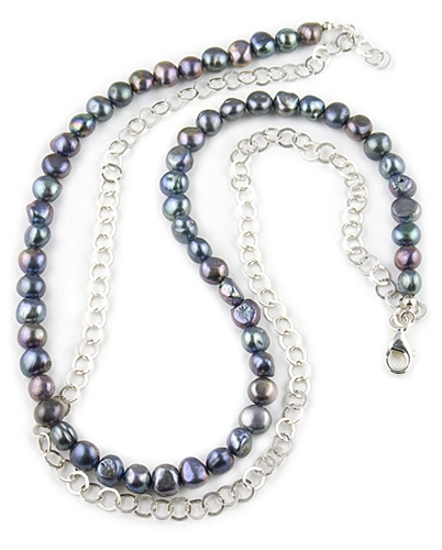 Peacock Freshwater Pearls & Silver Chain Necklace by Chou
