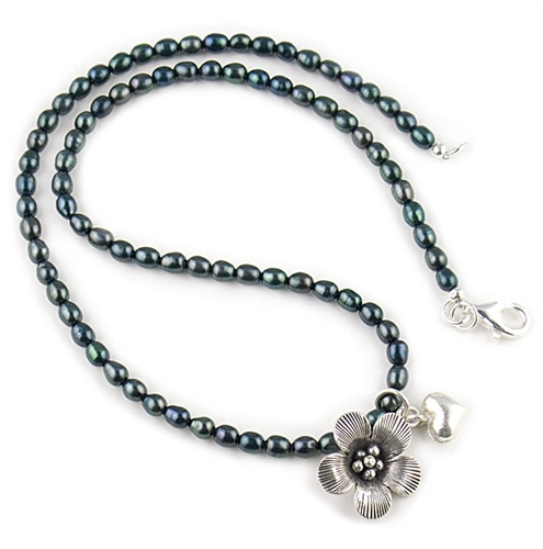 Black Freshwater Pearls & Silver Charms Necklace by Chou