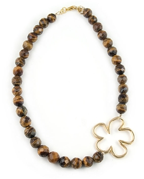 Tiger Eye Semi Precious Necklace with Gold Flower by Chou