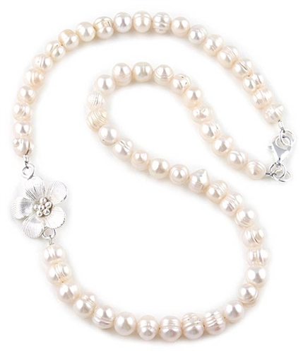White Freshwater Pearls & Silver Flower Charm Necklace by Chou
