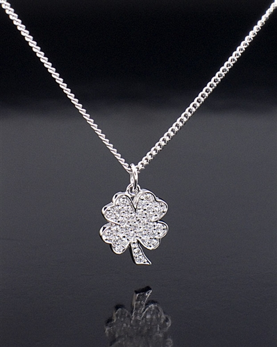 Crislu 0.55ct Sterling Silver Clover Pendant Necklace