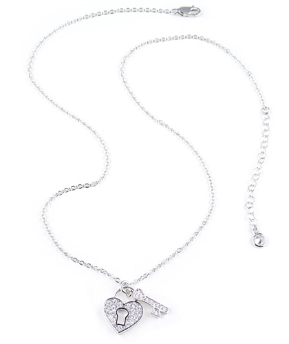 0.6ct Heart & Key Sterling Silver Pendant Necklace by Crislu