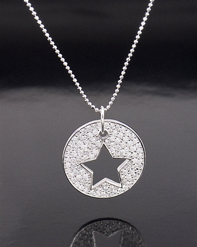 Crislu 2.25ct Sterling Silver Start Cut-out Pendant Necklace