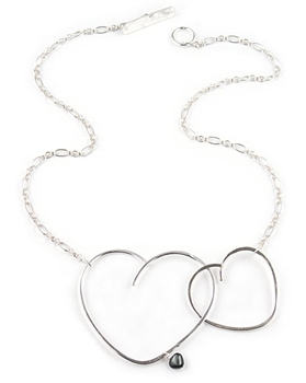 Silver Heart Necklace with Mother of Pearl by Eloise Fiorentino