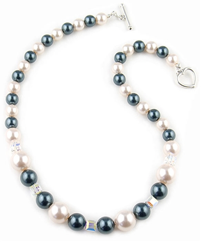 Cream & Tahitian Swarovski Pearl Necklace by Farfallina