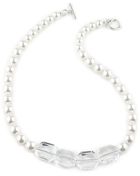 White Pearl Necklace with Swarovski Pearls & Crystals